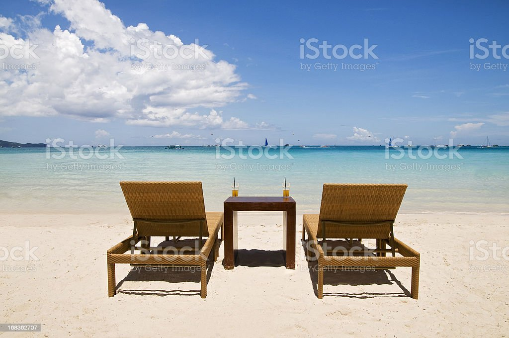 Beach Chairs on White Sand royalty-free stock photo
