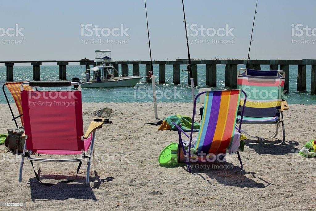 Beach Chairs Overlooking Blue Ocean stock photo