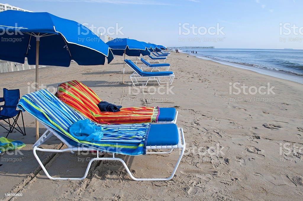 Beach Chairs & Umbrellas stock photo