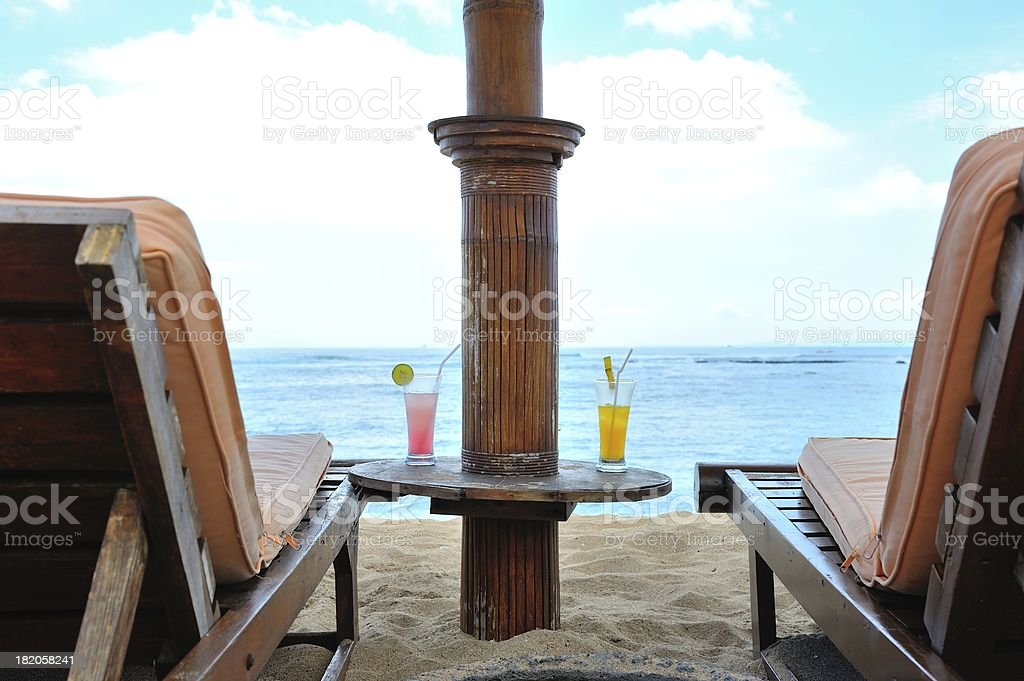Beach Chairs with Cocktail Juice royalty-free stock photo