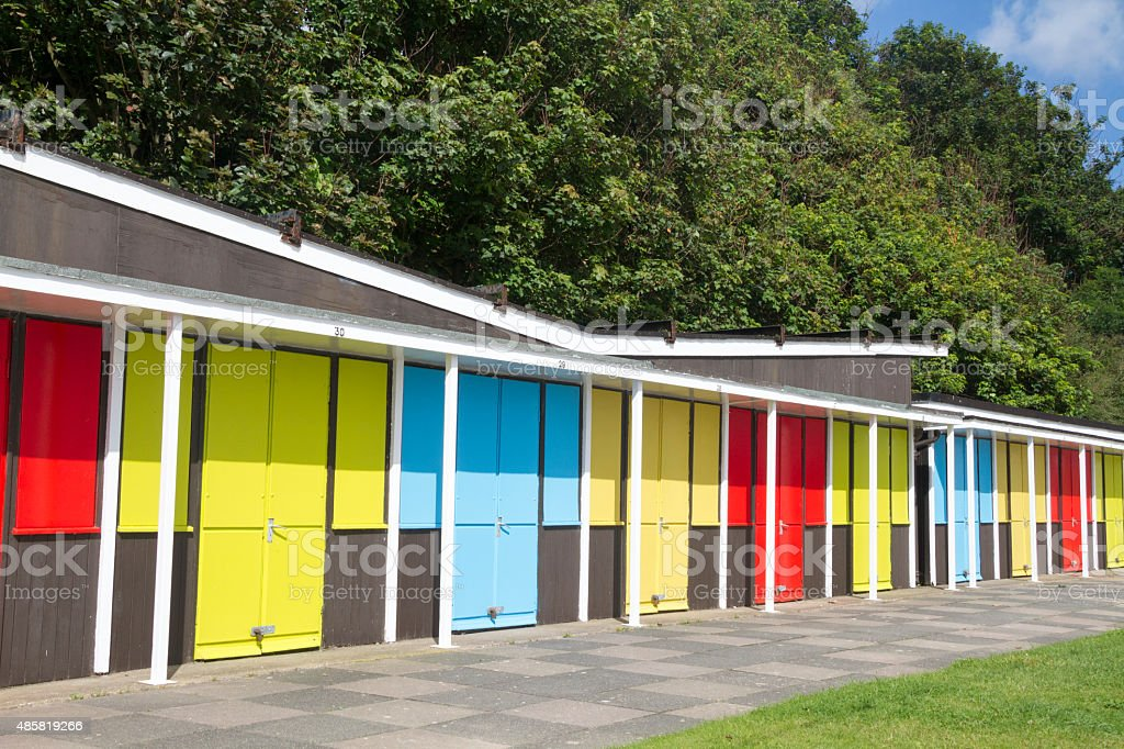 Beach chalets stock photo