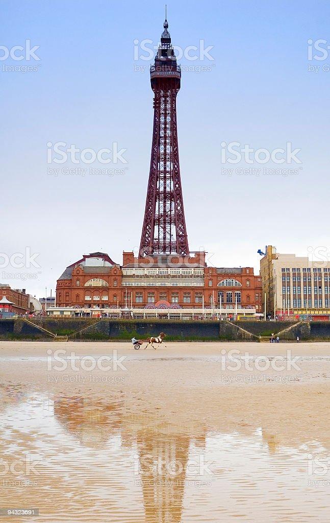 Beach, chariot, tower stock photo