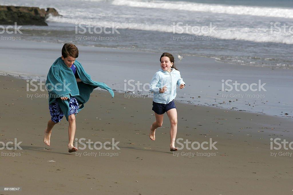 Beach Chase royalty-free stock photo