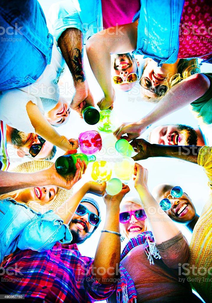 Beach Cheers Celebration Friendship Summer Fun Concept stock photo