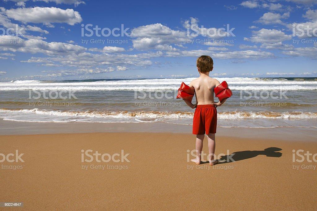 Beach Child standing stock photo