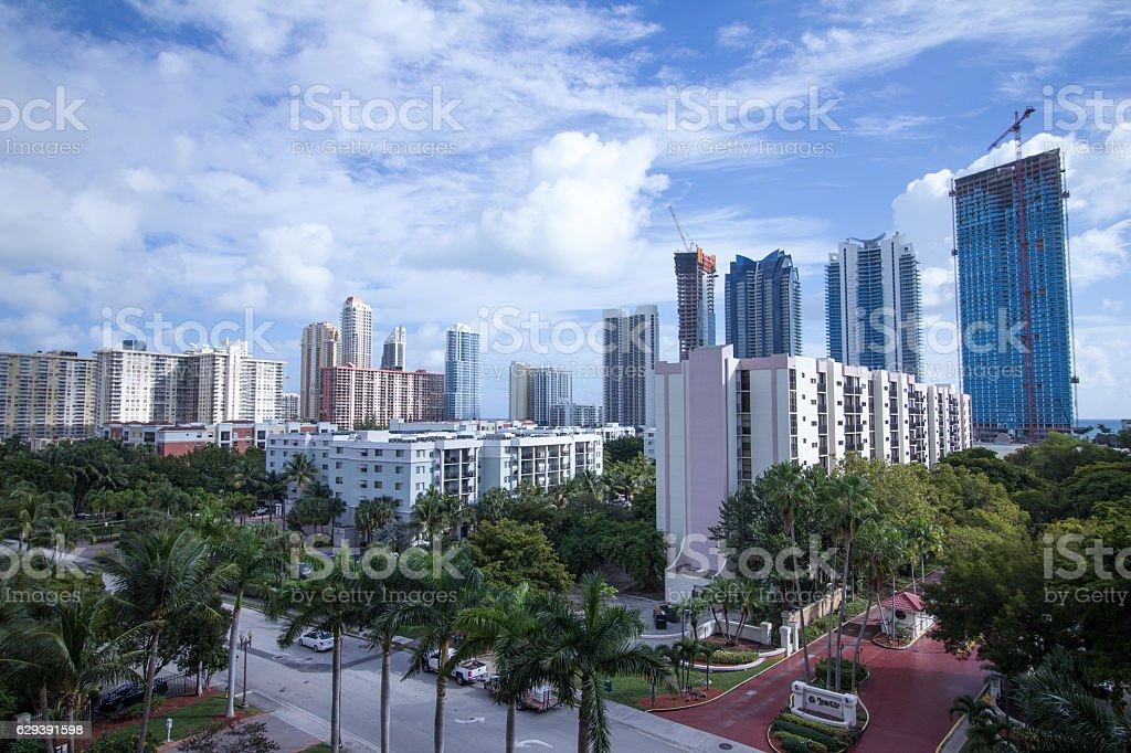 Beach city Sunny Isles from height stock photo