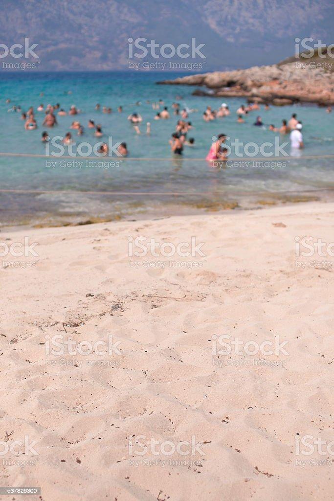 Beach Cleopatra  on the island of Sedir. Turkey. Blurred stock photo