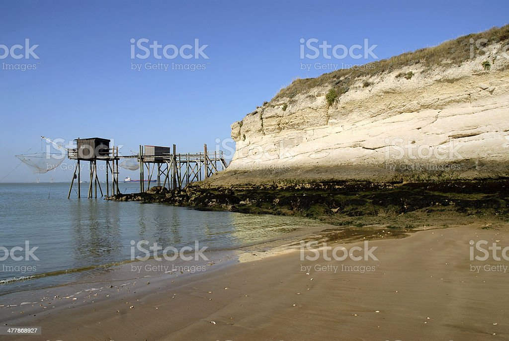 Beach, cliff and carrelets in france stock photo
