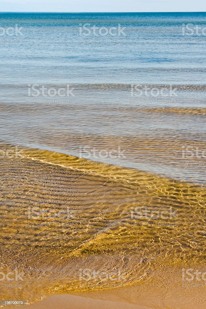 Beach Close Up With Rippled Golden Wave, Lake Michigan royalty-free stock photo