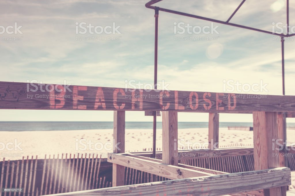 Beach Closed Sign Point Pleasant stock photo