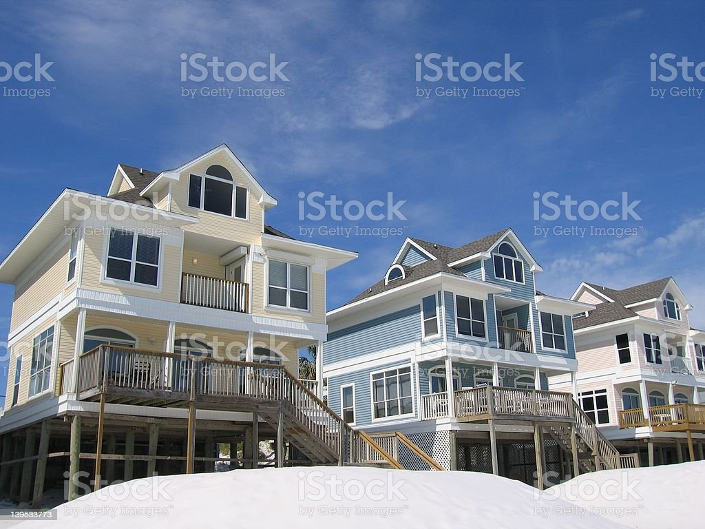 Beach Cottage Vacation Homes on the Ocean stock photo