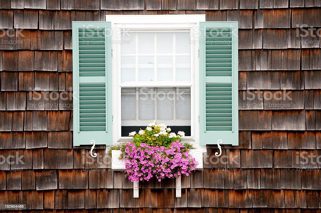 Beach Cottage Window & Flower Box stock photo