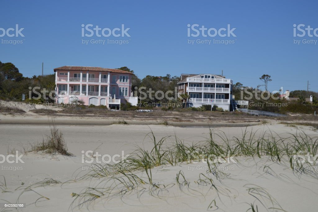 Beach Cottages Gould's Inlet stock photo