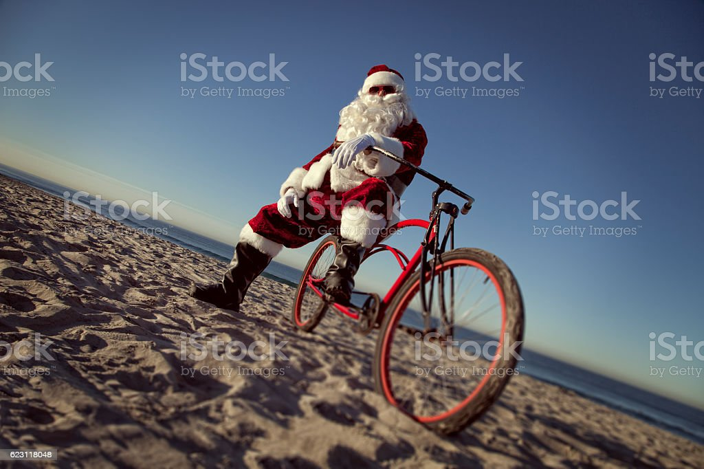 Beach Cruiser Santa stock photo
