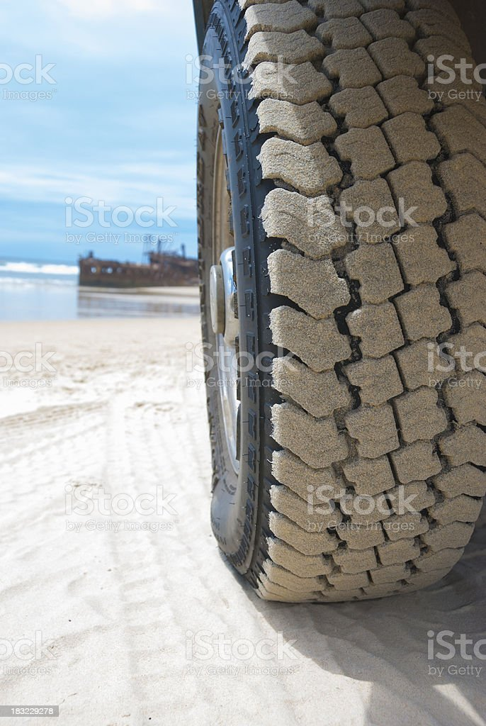 Beach driving and ship wreck royalty-free stock photo