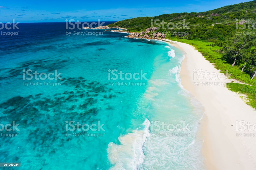beach drone view stock photo