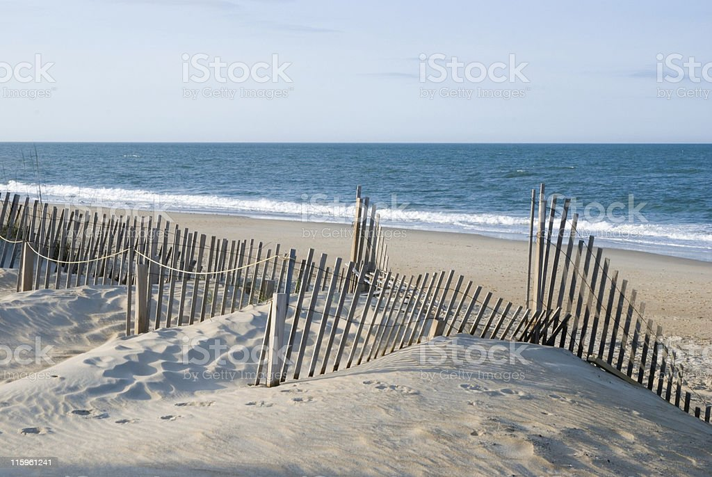 Beach, Dunes, Ocean, Fence in the Outer Banks royalty-free stock photo