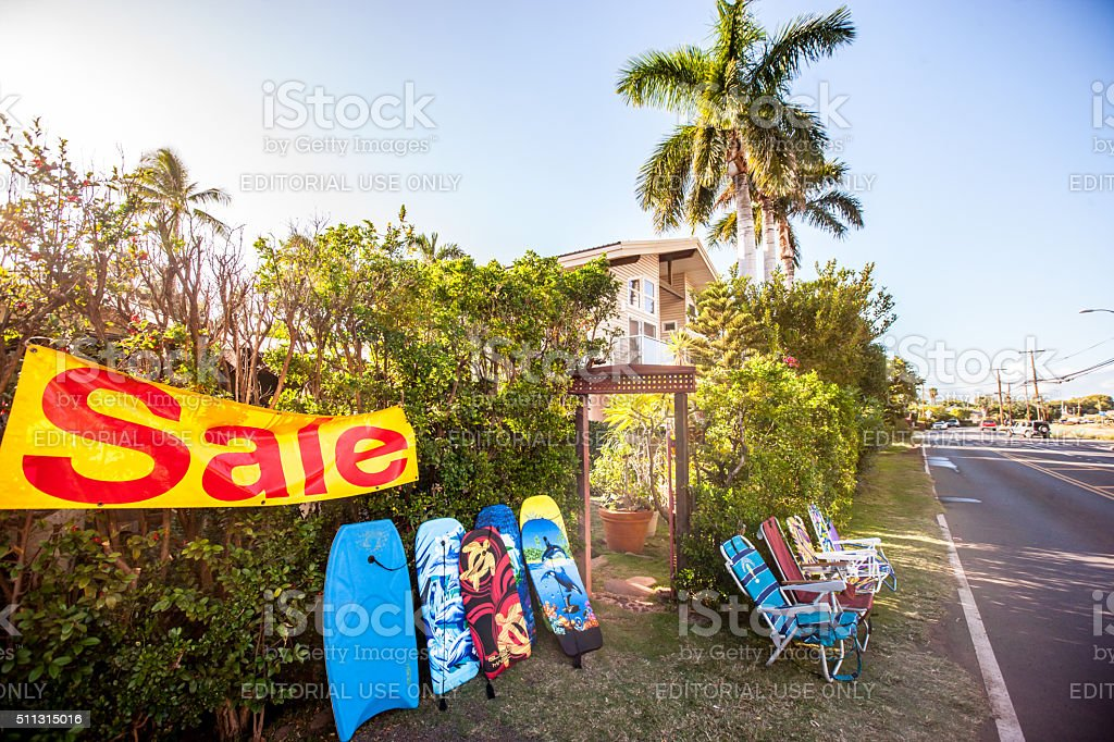 Beach Equipment sale on Maui road, USA stock photo