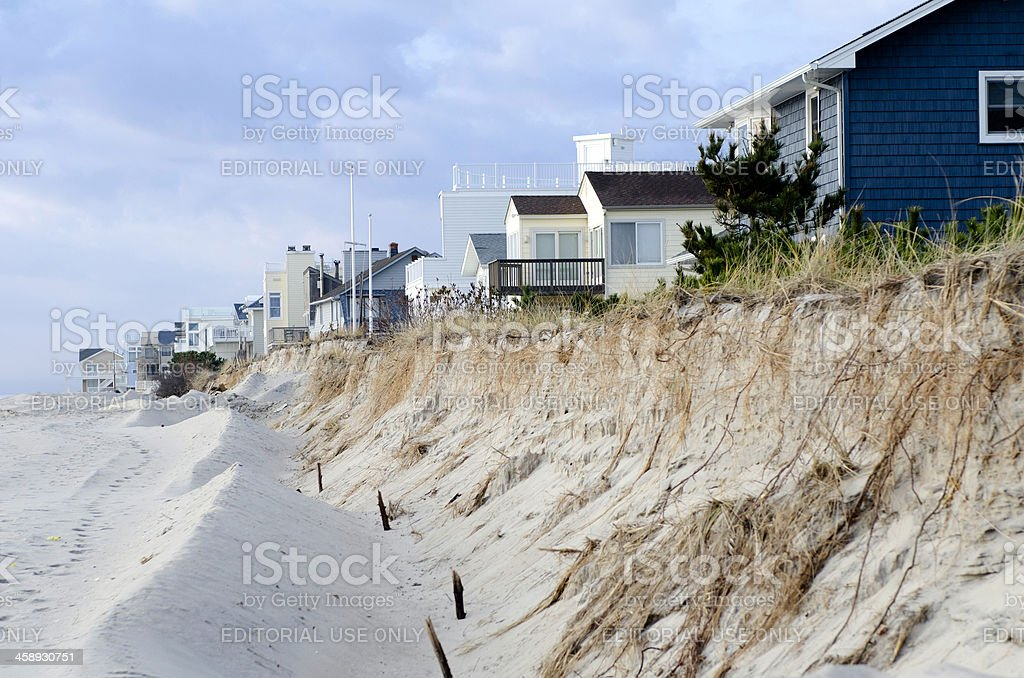 Beach Erosion and Dune Destruction Caused by Hurricane Sandy stock photo