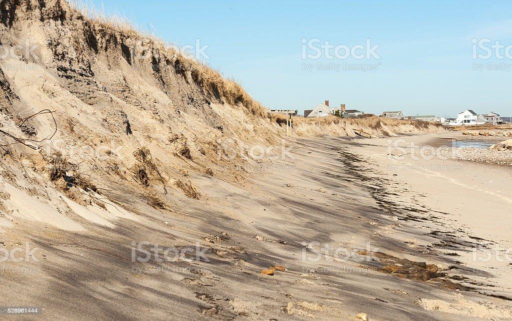 Beach erosion on Cape Cod Bay stock photo