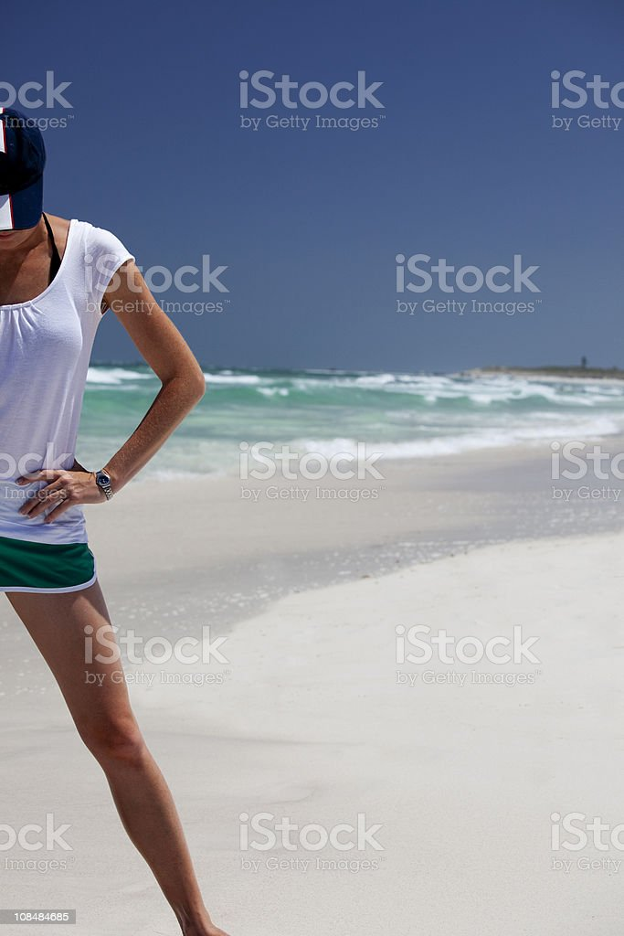 Beach excercise royalty-free stock photo