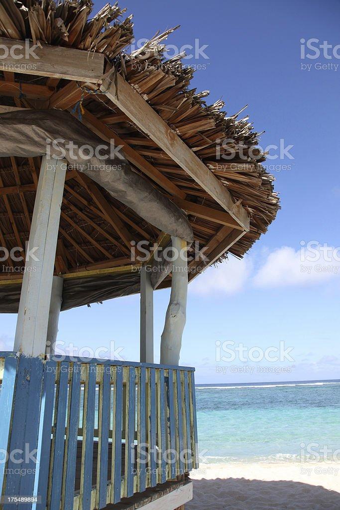 Beach Fale at Lalomanu stock photo