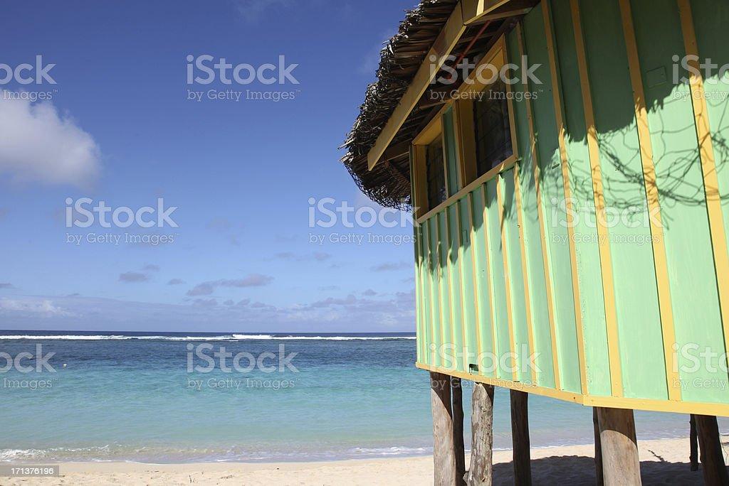 Beach Fale in Lalomanu, Samoa stock photo
