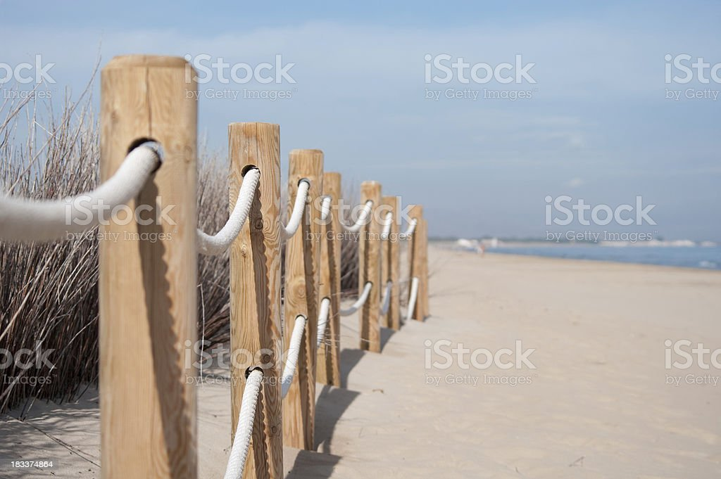 Beach fence boundary rope barrier royalty-free stock photo