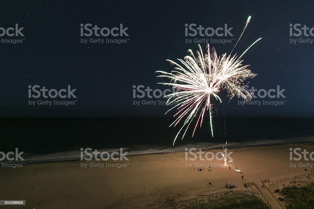 Beach Fireworks stock photo