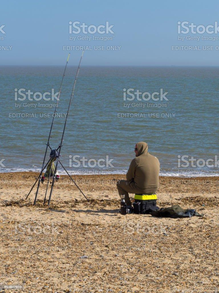 Beach fishing stock photo