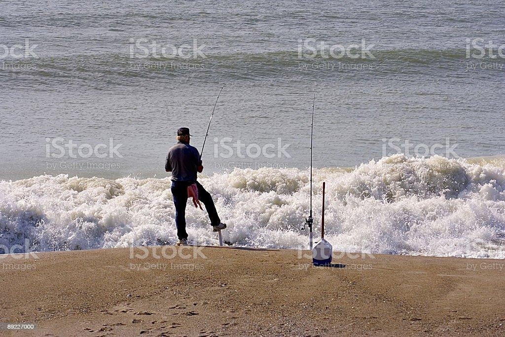 Beach Fishing royalty-free stock photo