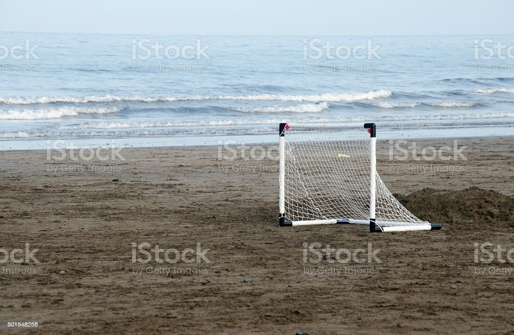 Beach football goal stock photo