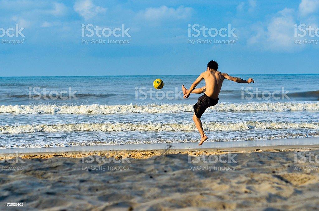 Beach Football stock photo