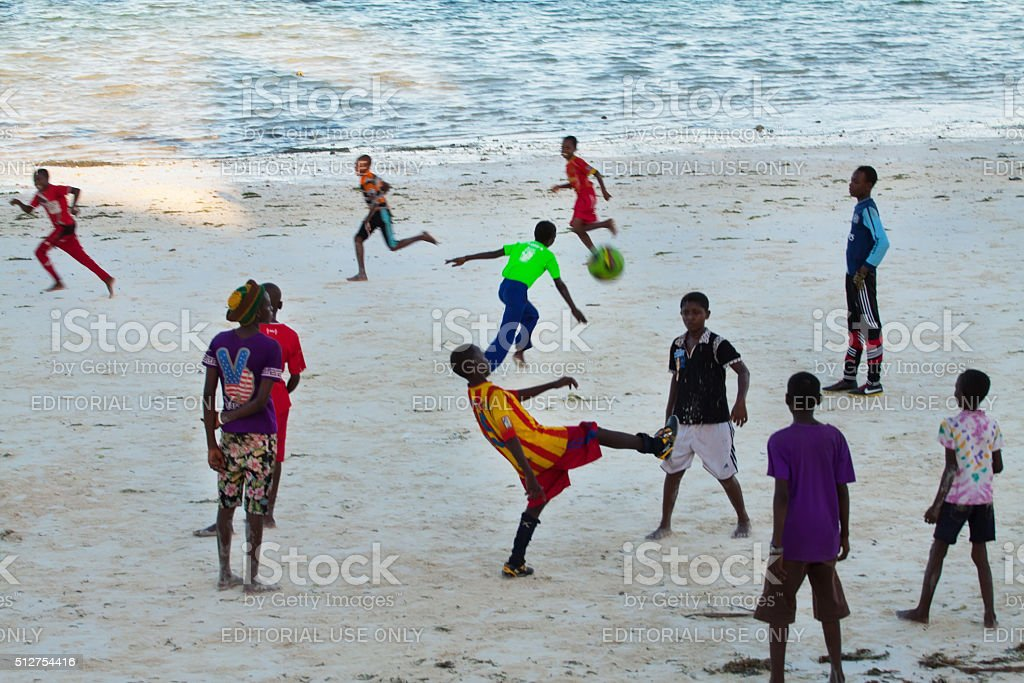 Beach Football stock photo