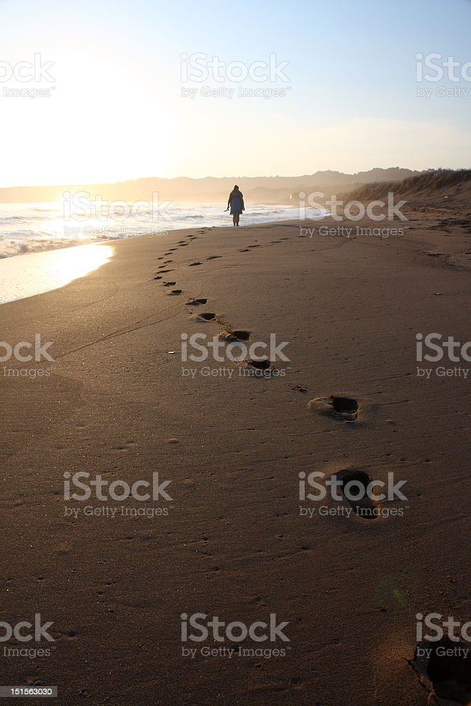 Beach Footsteps stock photo