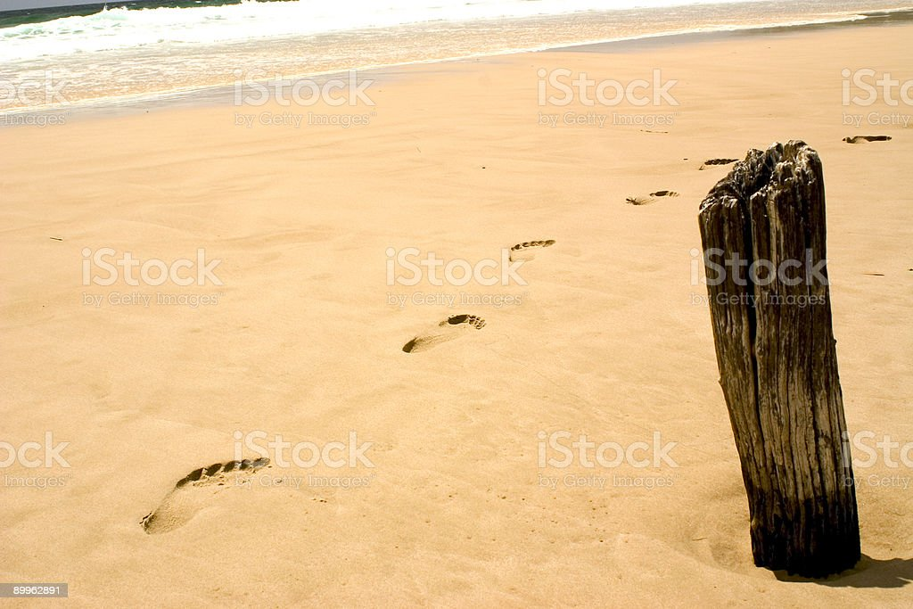 Beach Footsteps royalty-free stock photo