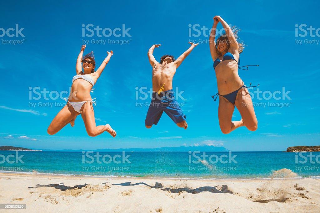 Beach, friends, love and fun in summer stock photo