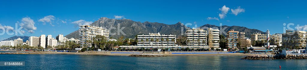 Beach front and promenade ar Marbella in Andalusia, Spain stock photo