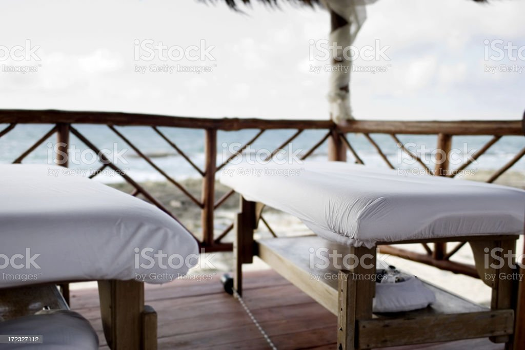 Beach Front Empty Massage Beds in Mexico, Copy Space stock photo