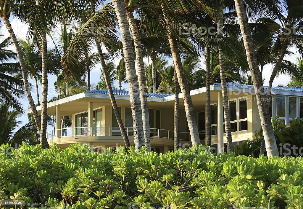 Beach front vacation mansion house home on Maui Hawaii stock photo