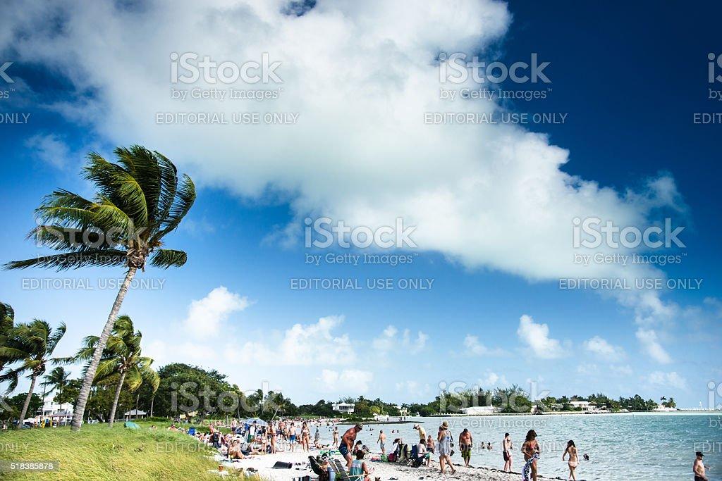 beach full of tourist in Key Largo - Florida stock photo