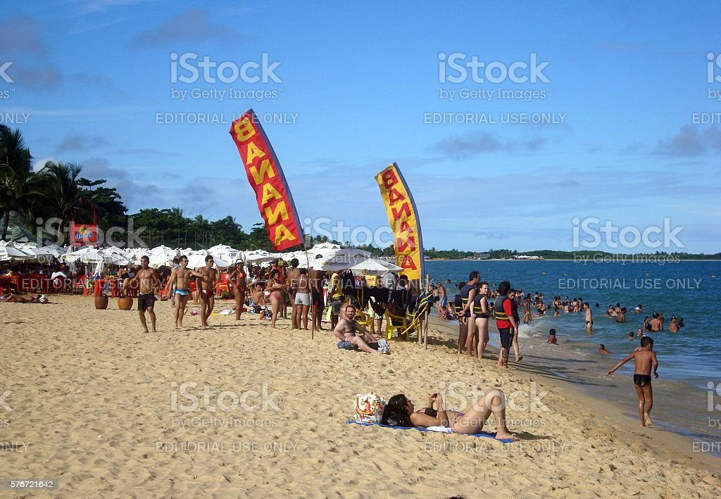 Beach fun in Porto seguro, Bahia, Brazil stock photo
