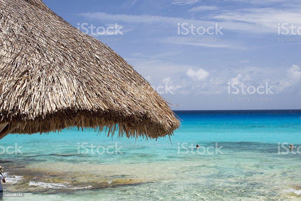 Beach gazebo at Cozumel stock photo