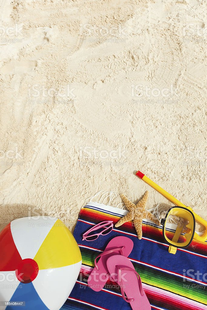 Beach Gear and Necessities for a Vacation with Copy Space stock photo