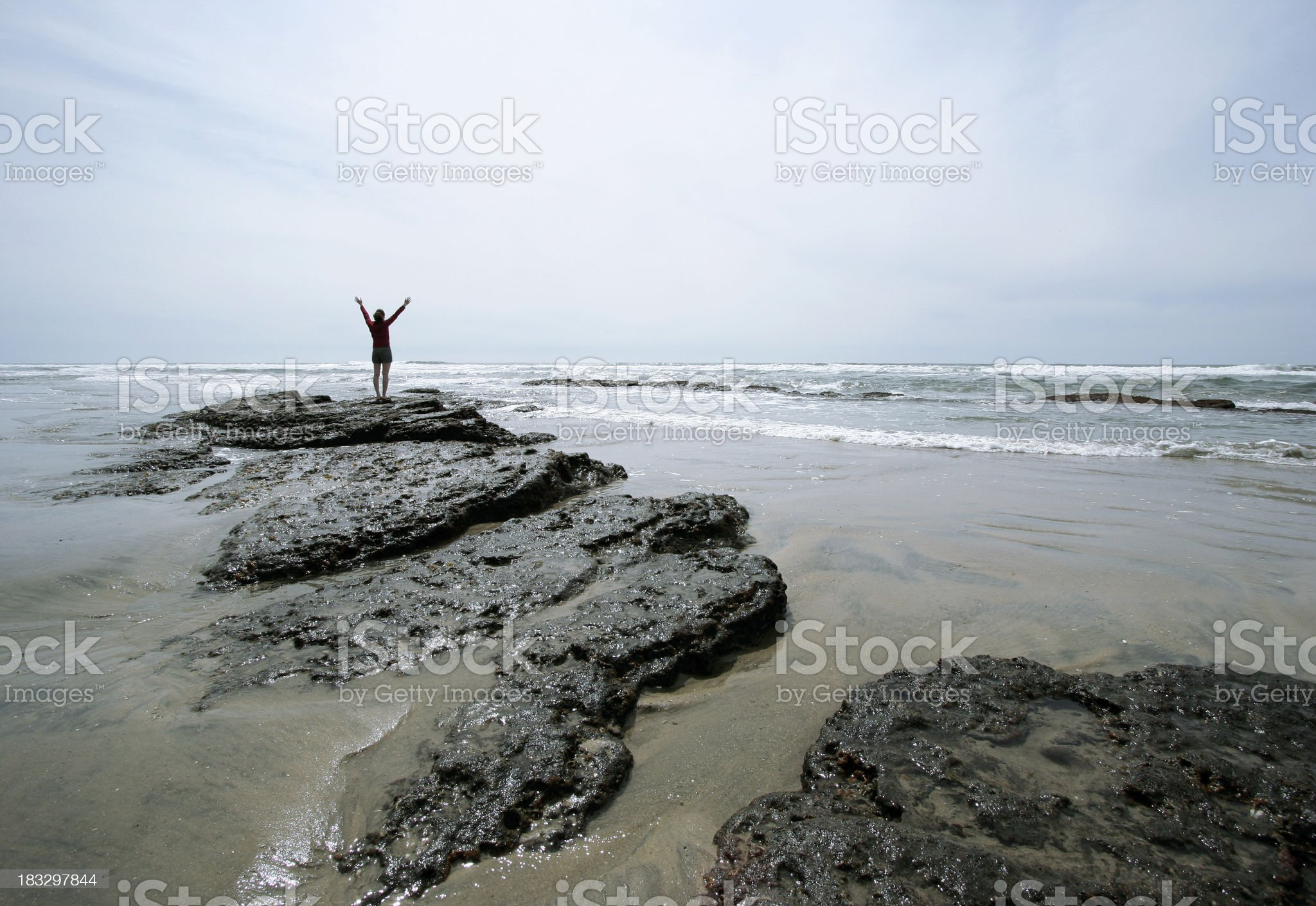 Beach Girl Triumphant royalty-free stock photo