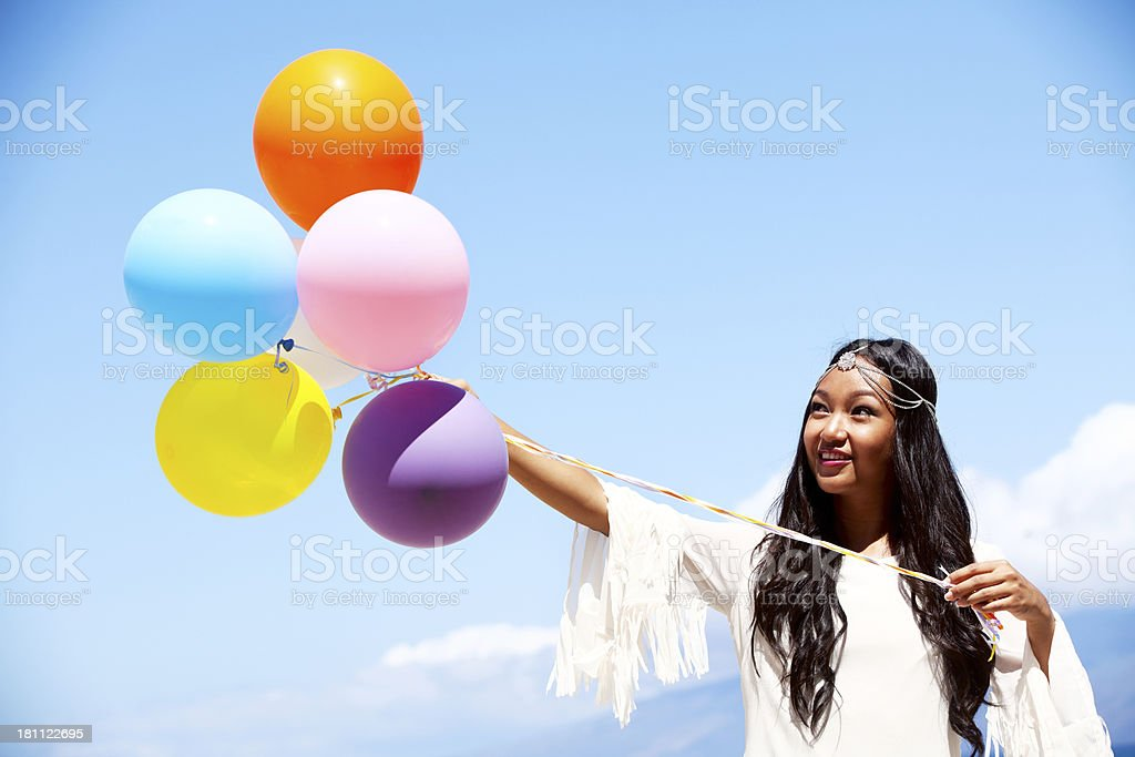 Beach Girl with Balloons royalty-free stock photo