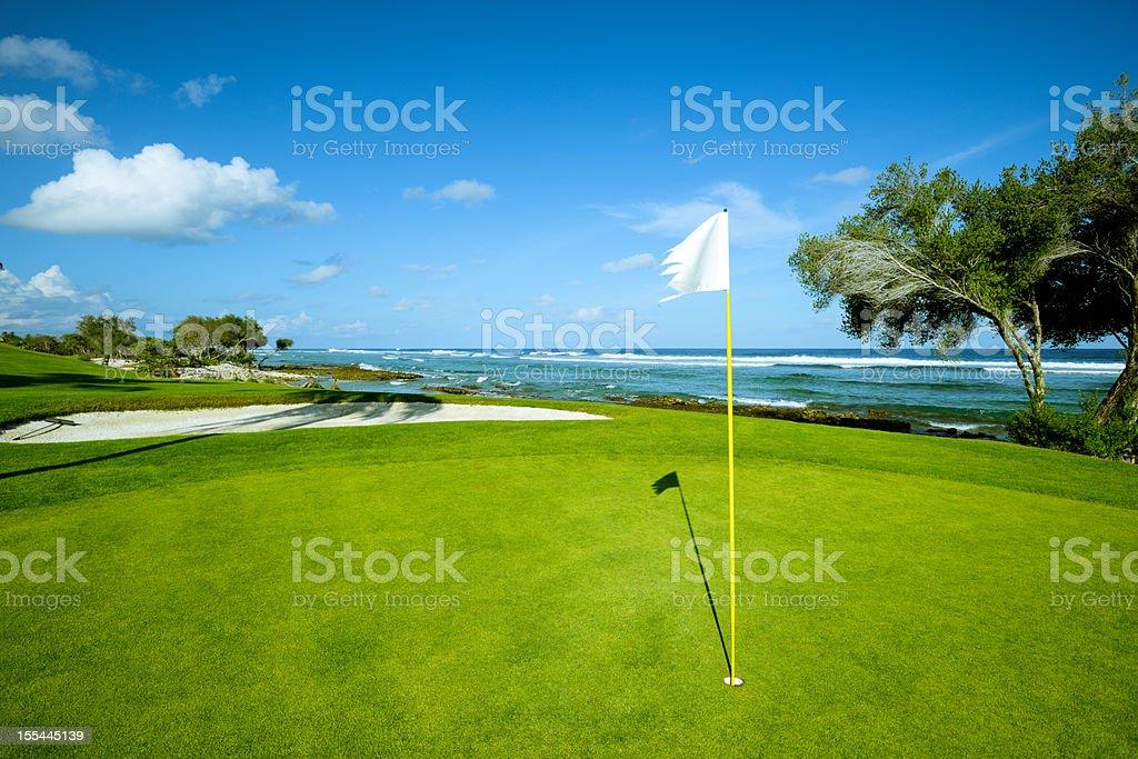 Beach Golf Course On Island stock photo