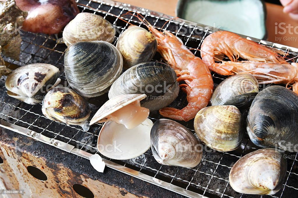 Beach grilled stock photo