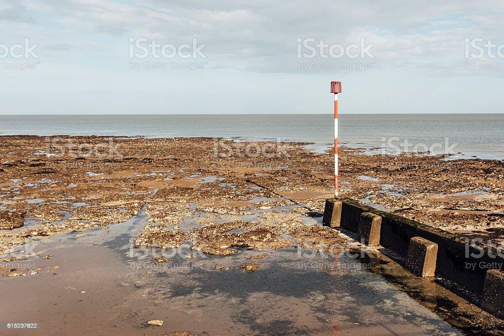 Beach groyne near Margate in Kent stock photo