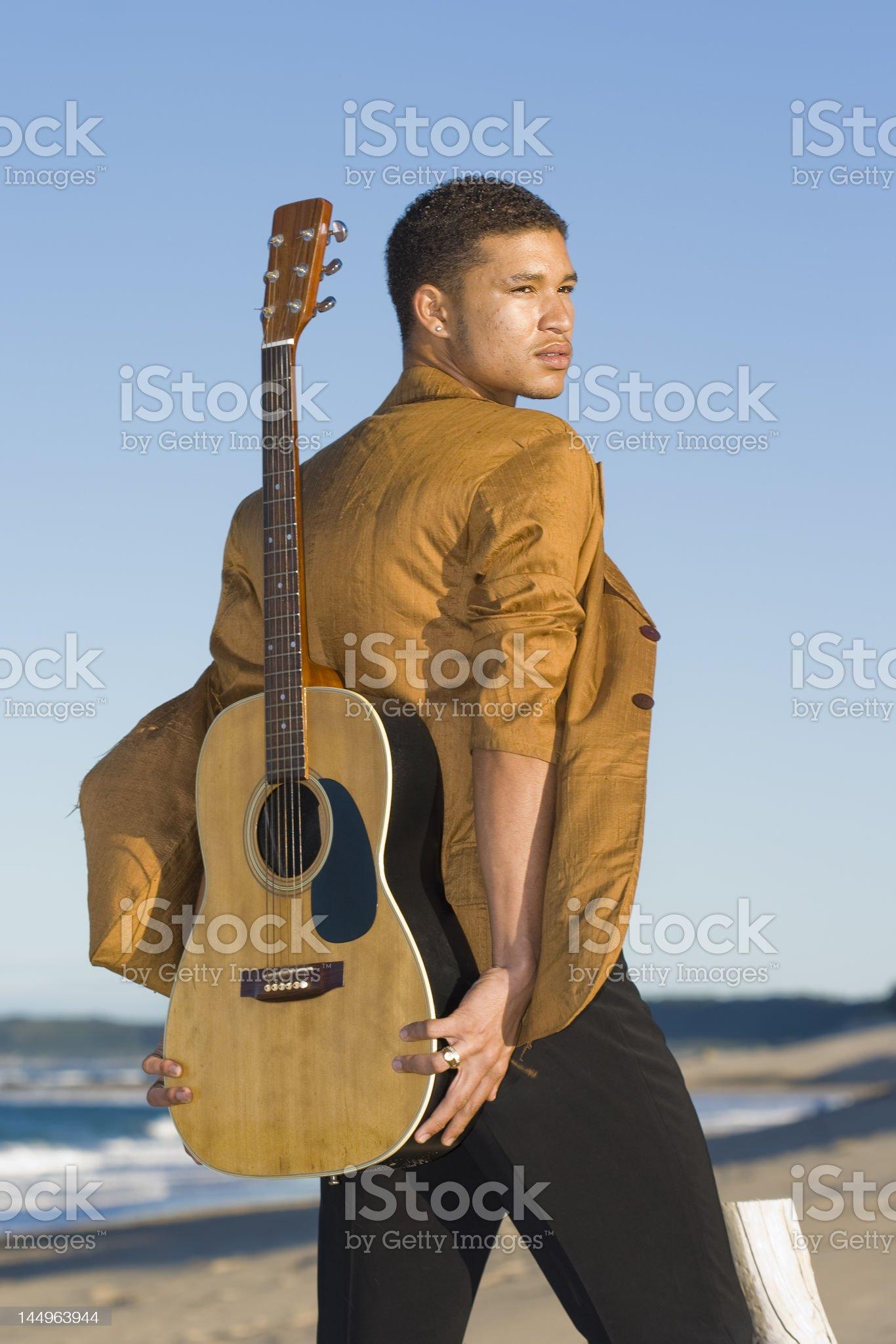 Beach Guitarist royalty-free stock photo